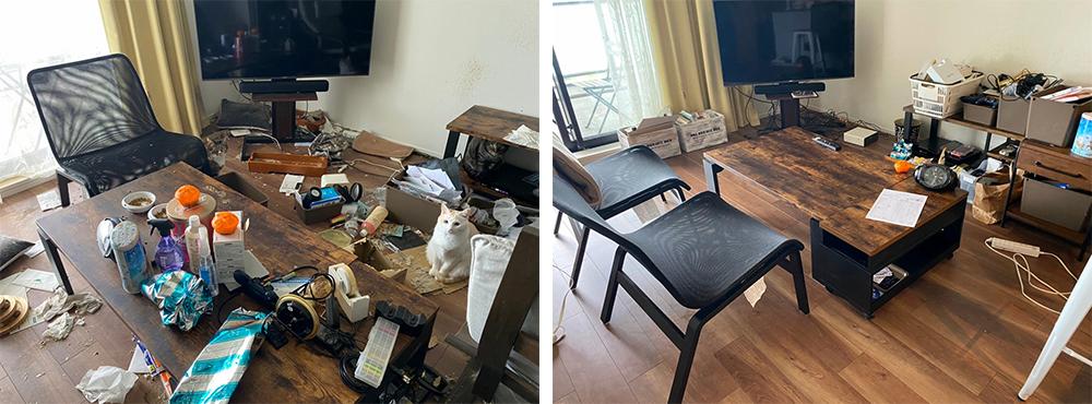 分譲マンションの一室の整理・脱臭除菌作業